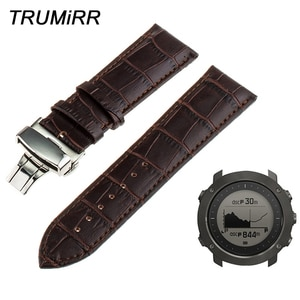24mm Calf Genuine Leather Watchband for Suunto TRAVERSE Watch Band Butterfly Buckle Strap Wrist Belt Bracelet Black Brown Red