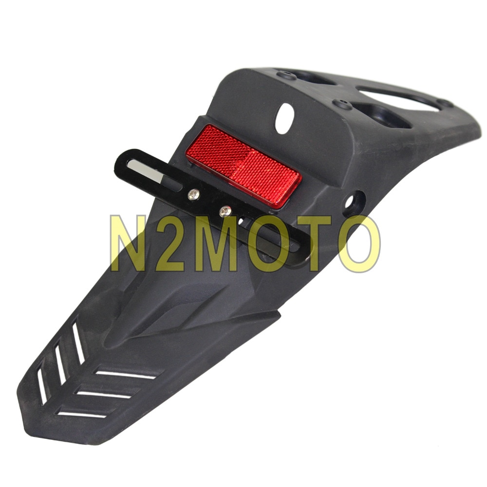 Guardabarros trasero negro para motocicleta, soporte de placa de matrícula roja para Suzuki DRM Yamaha WR250 Kawasaki KLX KTM SCF Universal
