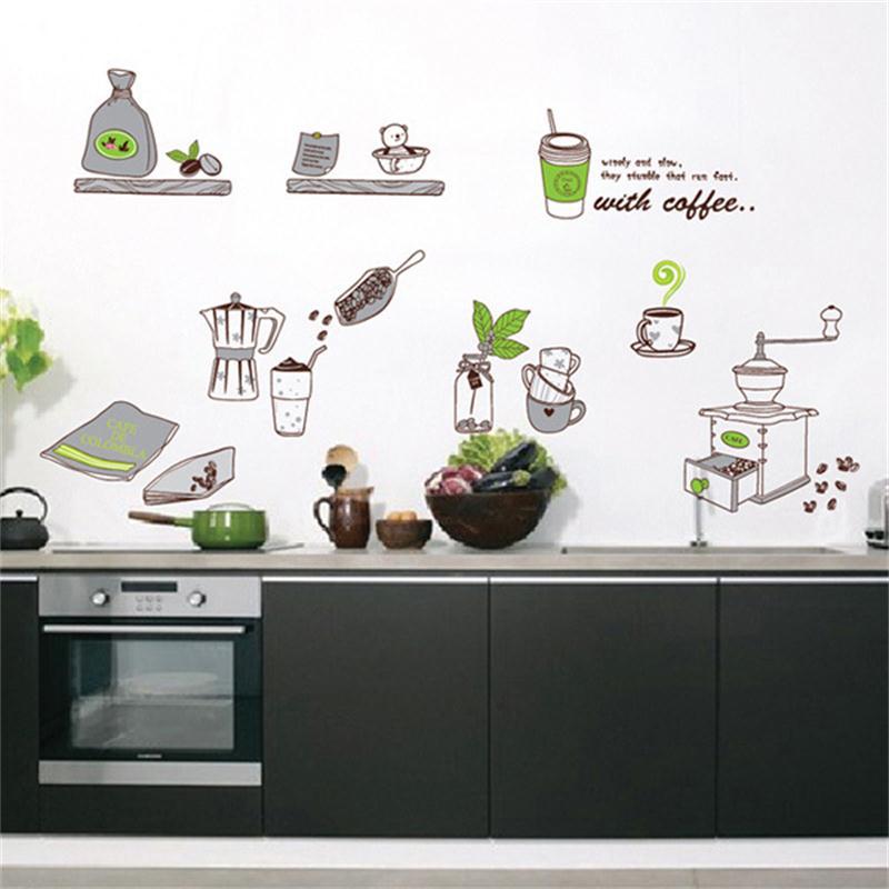 Vajilla para restaurante cafetería adhesivos para pared de cocina, 3D DIY pegatina a la moda decoración del hogar papel tapiz