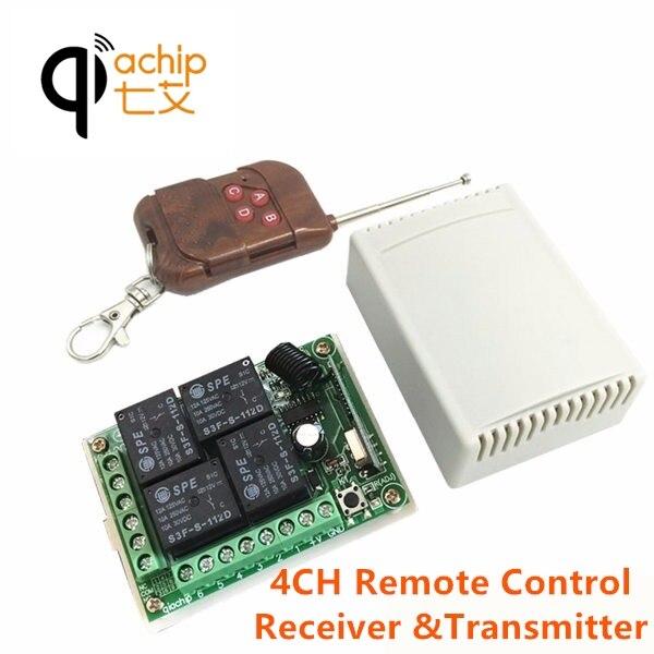 QIACHIP 433Mhz interruptor de Control remoto inalámbrico Universal DC 12V 4CH módulo receptor por relé con 4 canales RF transmisor remoto