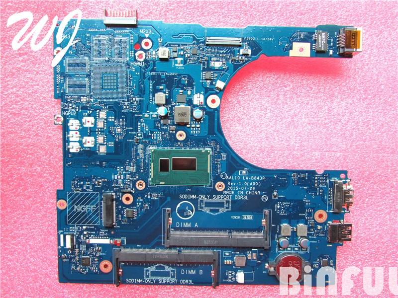 Ordenador portátil placa base para Dell Inspiron 5458 15 5558 5758 CN-027C5F AAL10 LA-B843P I3-4030U 100% TEDTED