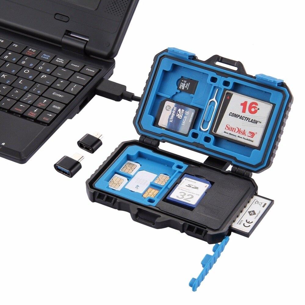PULUZ lector de tarjetas + 22 en 1 caja de memoria USB 3,0 SD CF, lector de tarjetas TF con caja de almacenamiento de tarjeta de función de OTG