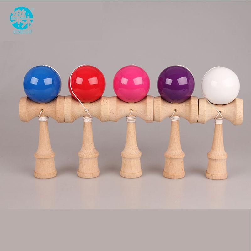 Envío Gratis tamaño 18,5 cm, divertidos juguetes de madera tradicionales japoneses, pelota Kendamas colorida, Kendama PU, pintura profesional