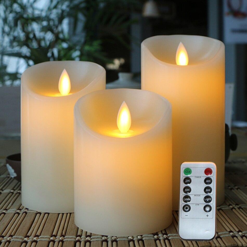 Беспламенная светодиодная Электронная свеча, изготовленная из настоящего воска и мерцающего света, дистанционное управление с таймером, д...