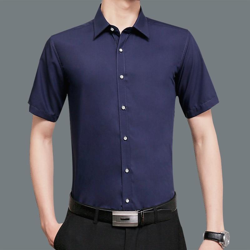 Рубашка мужская с отложным воротником, простая формальная однотонная блуза с короткими рукавами, Повседневная приталенная одежда, черная р...