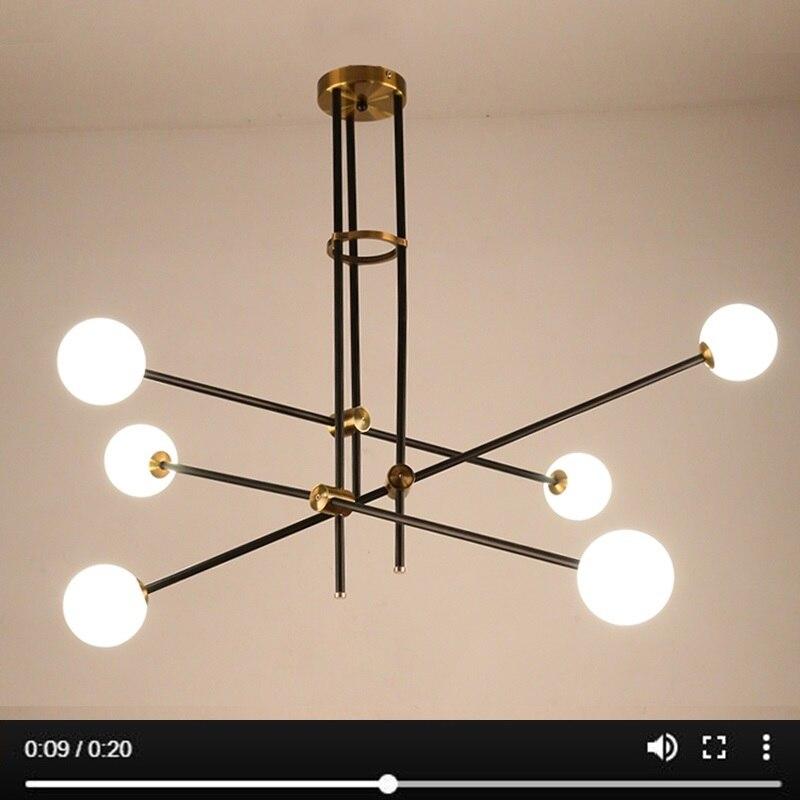 LuKLoy آخر الحديثة الثريا فرع ضوء غرفة المعيشة قاعة الحديد مودو كرة زجاجية شعبية الحديثة قلادة مصباح تركيبة إضاءة