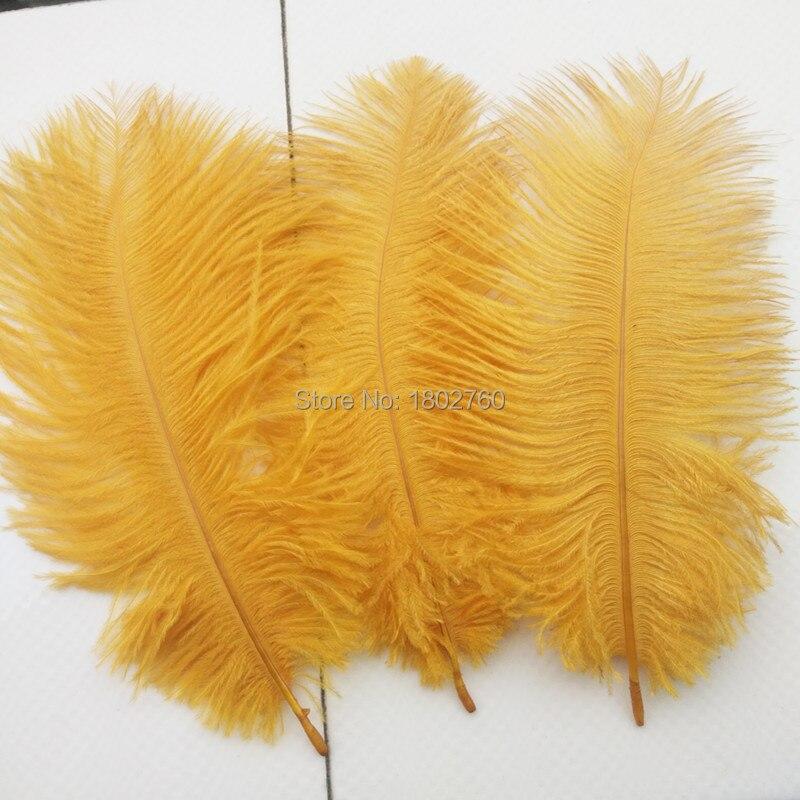 Hermosa pluma de avestruz Amarilla Dorada 10 Uds. Longitud de la pluma 6-8 pulgadas/15-20 cm DIY trajes de boda y decoraciones de sombrero