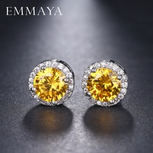 EMMAYA-boucles doreilles pour femmes, couleur argent or, pierre CZ percée, forme ronde, petits bijoux, breloques