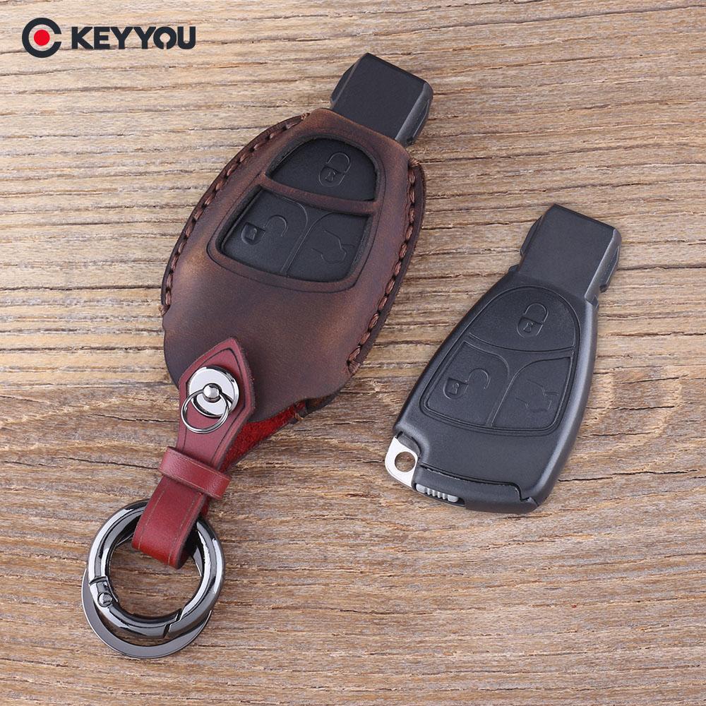 KEYYOU Couro Genuíno Chave do Caso Shell Fob 3 Botões do Controle Remoto Key Fob Caso Capa Para Mercedes Benz B C E ML CLK CL 3B 3BT