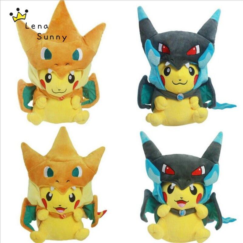 10 Pikachu Cosplay Mega Charizard X juguetes de peluche, 22-25cm Kawaii Pikachu juguetes de peluche suaves para niños