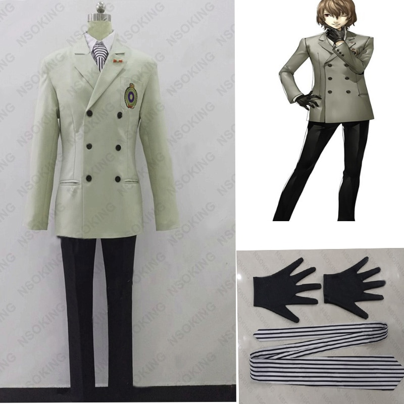 Nova persona 5 goro akechi cosplay crow costume escola uniforme feito sob encomenda