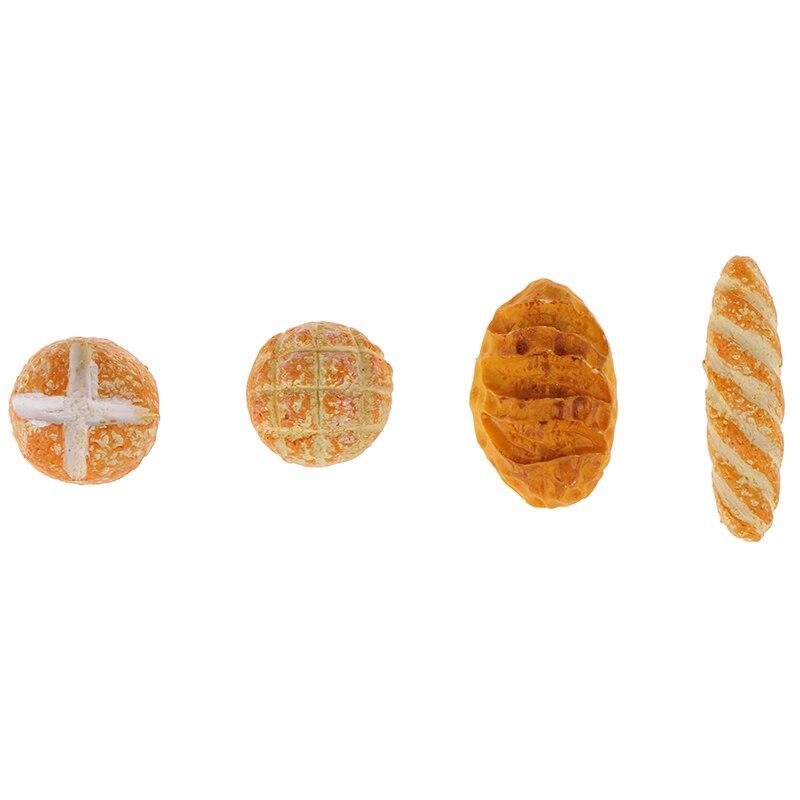 Pan de imitación para casa de muñecas en miniatura, comida para desayuno, aperitivos, postres, cocina, juguetes para casa de muñecas en miniatura 4 unidades 1/12