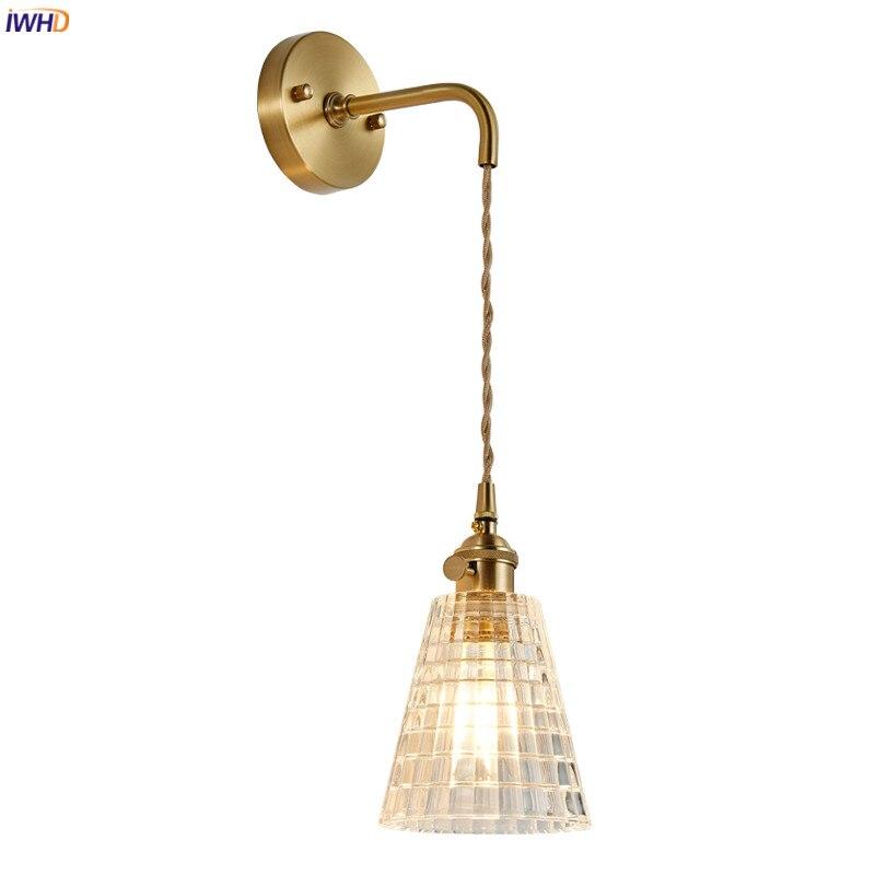 IWHD-مصباح حائط من النحاس والزجاج ، تصميم إسكندنافي حديث ، إضاءة داخلية ، مصباح حائط ، مثالي لغرفة النوم أو الحمام أو السلالم أو الدور العلوي.