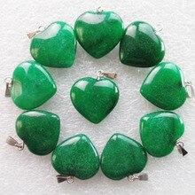 10 pièces 22x20x6mm belle perle verte pendentif coeur Jades