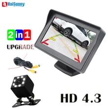 HaiSunny-moniteur de stationnement Auto   4.3 pouces, avec Vision nocturne à 8LED, CCD, caméra de stationnement automatique, pour linclinaison de la voiture