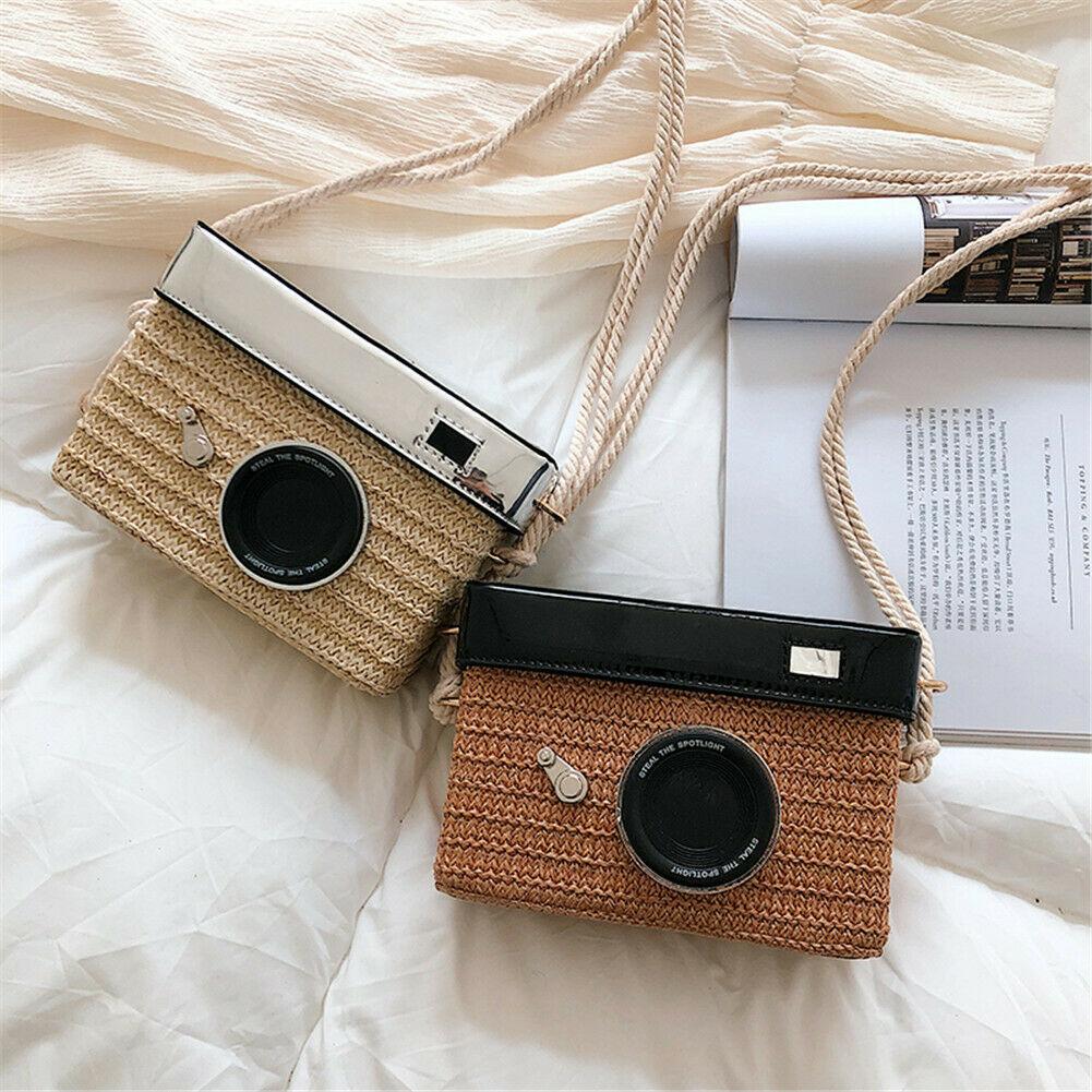 Bolso de paja para mujer y niña, bolso de moda elegante con forma de cámara, bolso cruzado para teléfono, bandolera tipo mensajero