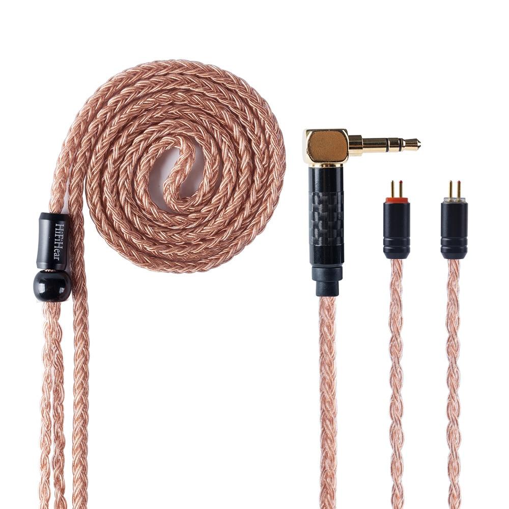 HiFiHear 16 Core brown Überzogen Verbesserte Kabel 2,5/3,5/4,4mm Ausgeglichen Kabel Mit MMCX/2pin Stecker für KZ AS10 ZS10 ZST CCA C10 Kopfhörer    -