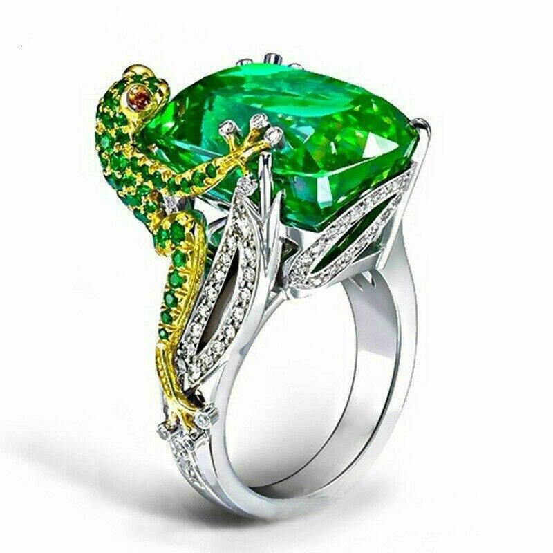 Anillo de compromiso Chapado en rana para mujer, anillo de compromiso de lujo, regalo de joyería de Boda nupcial