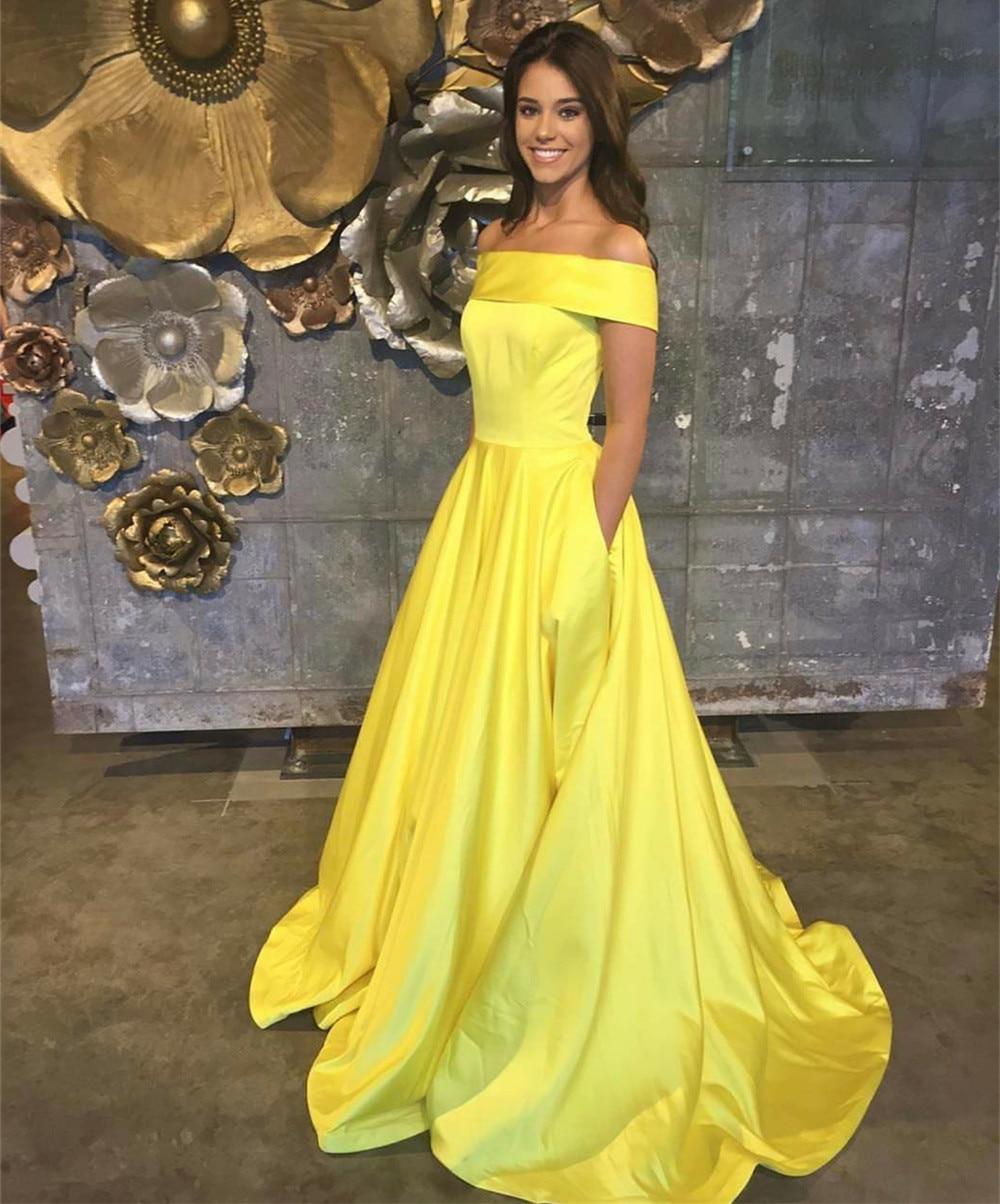 2019 nuevo Vestido largo de satén amarillo de dama de Honor cuello barco fuera del hombro Línea A barato vestidos elegantes para dama de Honor hecho A medida