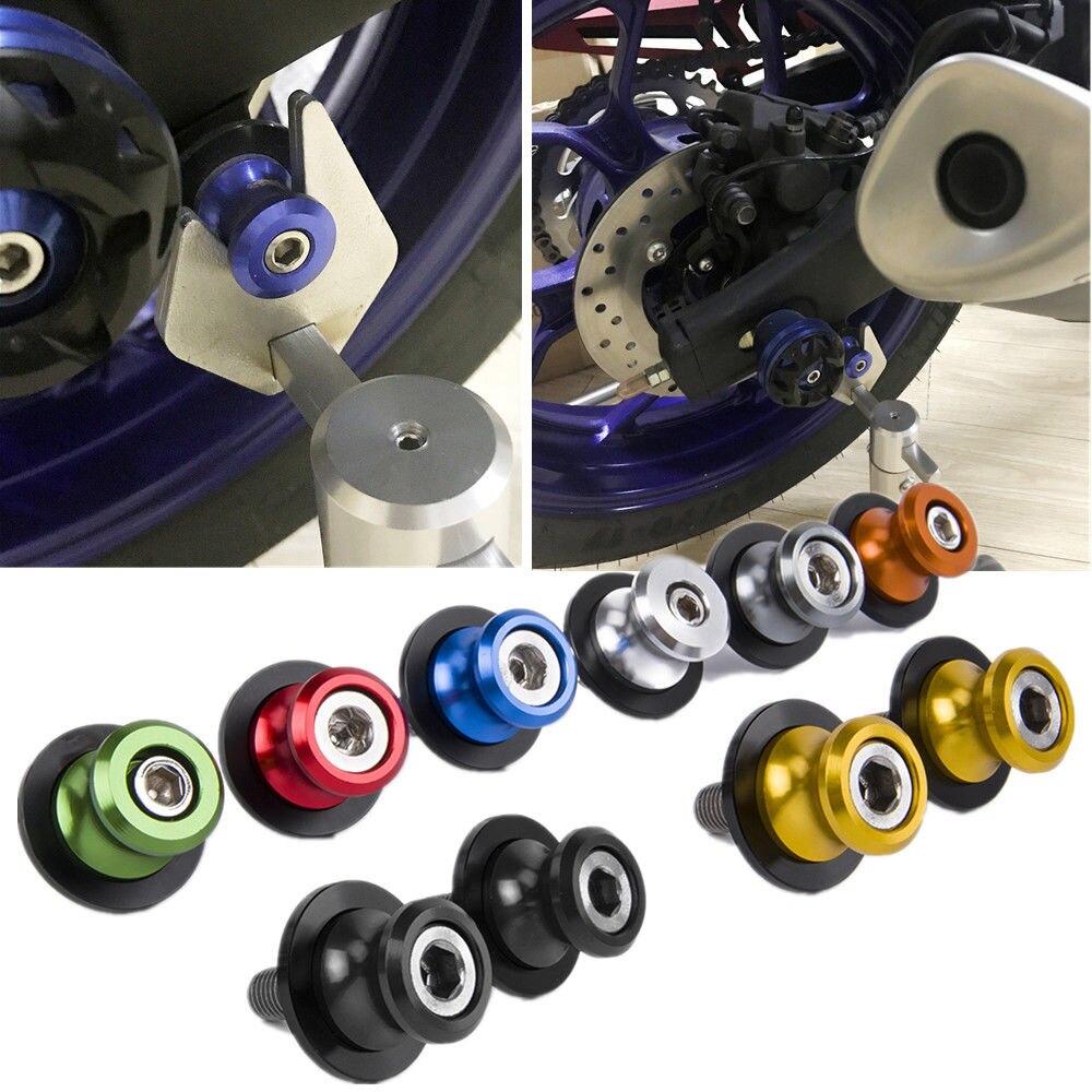 2 uds. Tornillos de 6mm para motocicleta de aluminio Swingarm, soportes deslizadores para Yamaha YZF R1 R3 R6 FZ MT 07 MT09 FZ09 FJ09 Aprilia