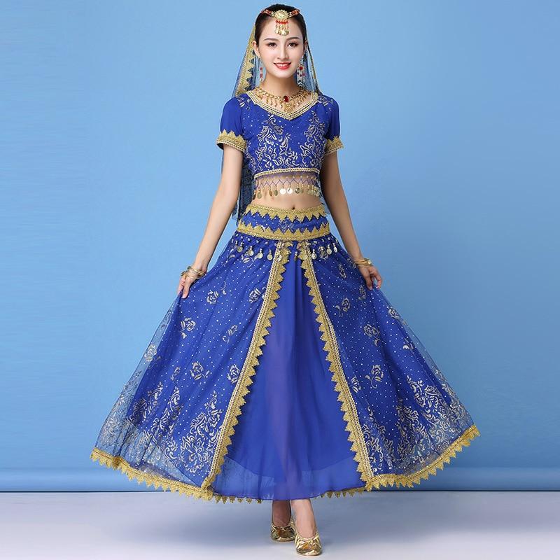 2019  Dance Wear Women Performance Indian Sari Outfit Bollywood Belly Dance Costumes Set (Top+belt+skirt+veil+headpiece)