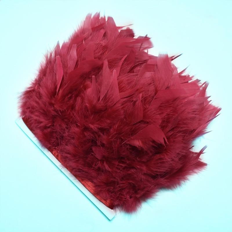 2 metros/lote Plume vino rojo pavo plumas adornos para costura ropa fiesta decorativo 10-15cm DIY plumas naturales para manualidades