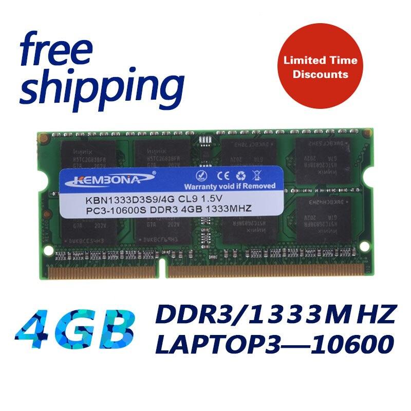 Ram de Memória Compatível com Ddr3 Kembona Memeoy Originais Laptop 4 gb 4g 1333 1066 Mhz Ram Ddr3