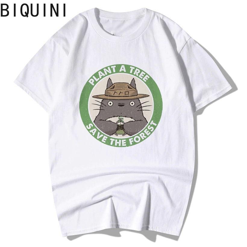 BIQUINI Totoro camiseta mujer Top 100% algodón Studio Ghibli Kawaii 90s gráfico Harajuku Miyazaki Hayao moda mujer Camisas
