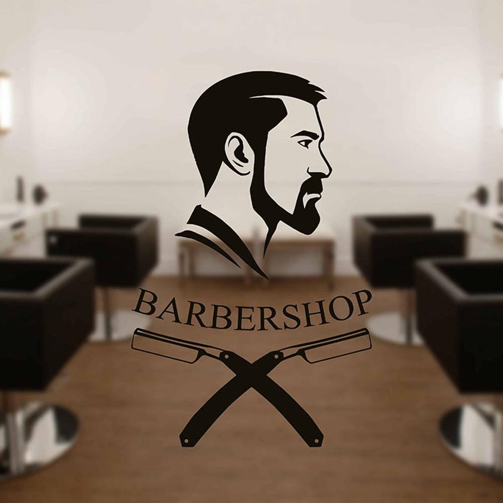 Pegatinas de pared de cara de hombre Barbershop, pegatinas de logotipo para pared, calcomanías de vinilo desmontables para ventana de vidrio, logotipo de barbero, decoraciones de peluquería G174