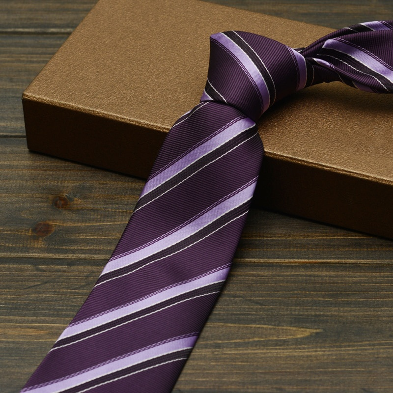 High Quality Formal Men's Business Tie Fashion Polyester 7cm Neck Ties for Men Classic Striped Purple Necktie Wedding Brand