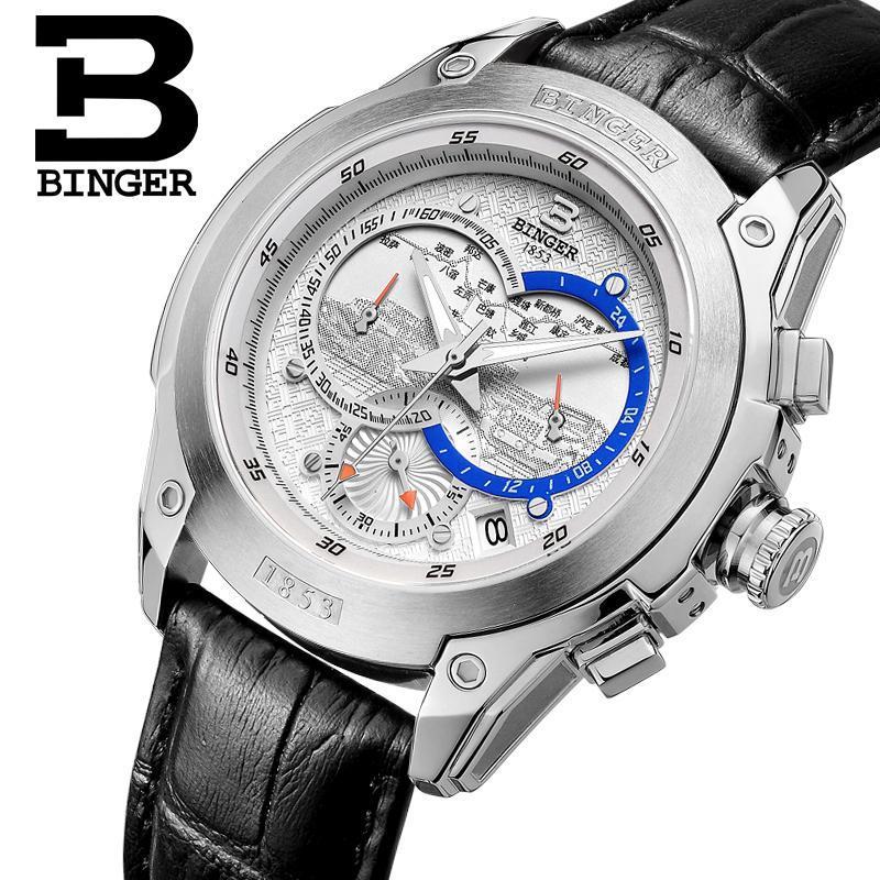 Suisse montre pour hommes marque de luxe montres BINGER Quartz horloge bracelet en cuir véritable chronographe plongeur glowwatch B6013-4