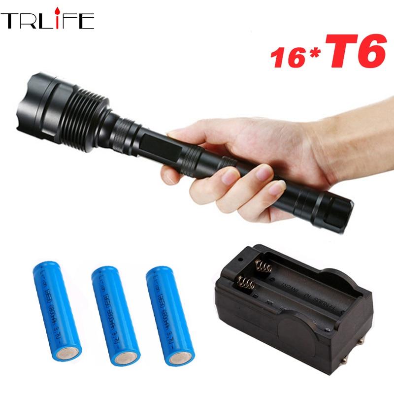 3 a 16 * T6 linterna táctica potente LED linterna Flash lámpara + 3*18650 batería + cargador
