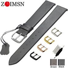 ZLIMSN bracelets de montre en cuir véritable 18 20 22mm mince lisse bracelet de montre ceinture pour montres DW boucle en acier inoxydable
