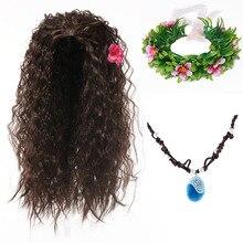 Girl Moana Halloween Cosplay Party Dress up Accessory Kit Moana Wig Synthetic Hair Kids Vaiana Flora