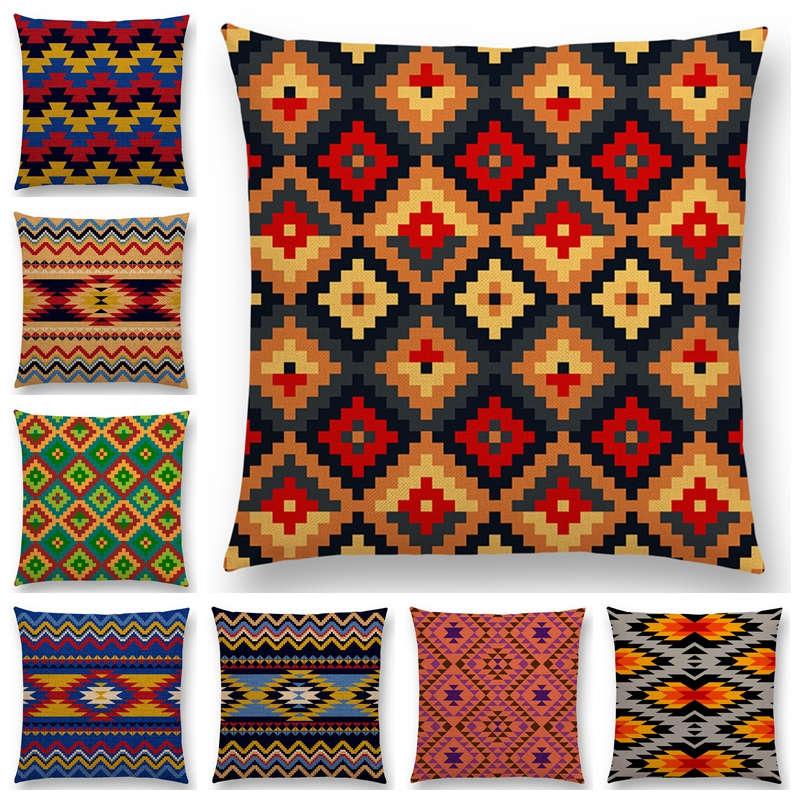 Colorido Padrão Geométrico Asteca Sofá Throw Pillow Caso Étnica Tribal Prints Magic Rainbow Xadrez Capa de Almofada Decorativa