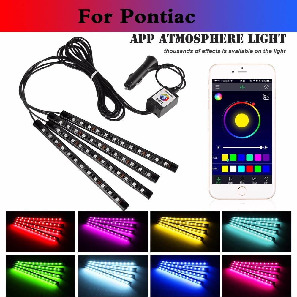 car styling Car RGB Strip Light Flexible Atmosphere Lamp Decorative Control For Pontiac Aztec Bonneville G4 G5 G6 G8 Grand AM