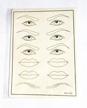 10 Pcs Permanent Makeup Eyebrow  Eye Lips Training Tattoo Practice Skin Blank Fake Tattoo Practice Skins 20 x 15cm