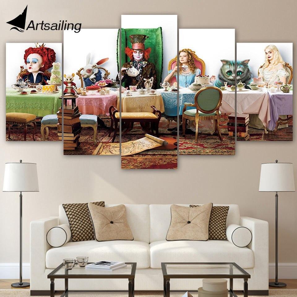 ArtSailing 5 piezas lienzo impreso Alicia en el país de las Maravillas pinturas pared arte Modular para la sala de estar imagen decoración del hogar ny-539