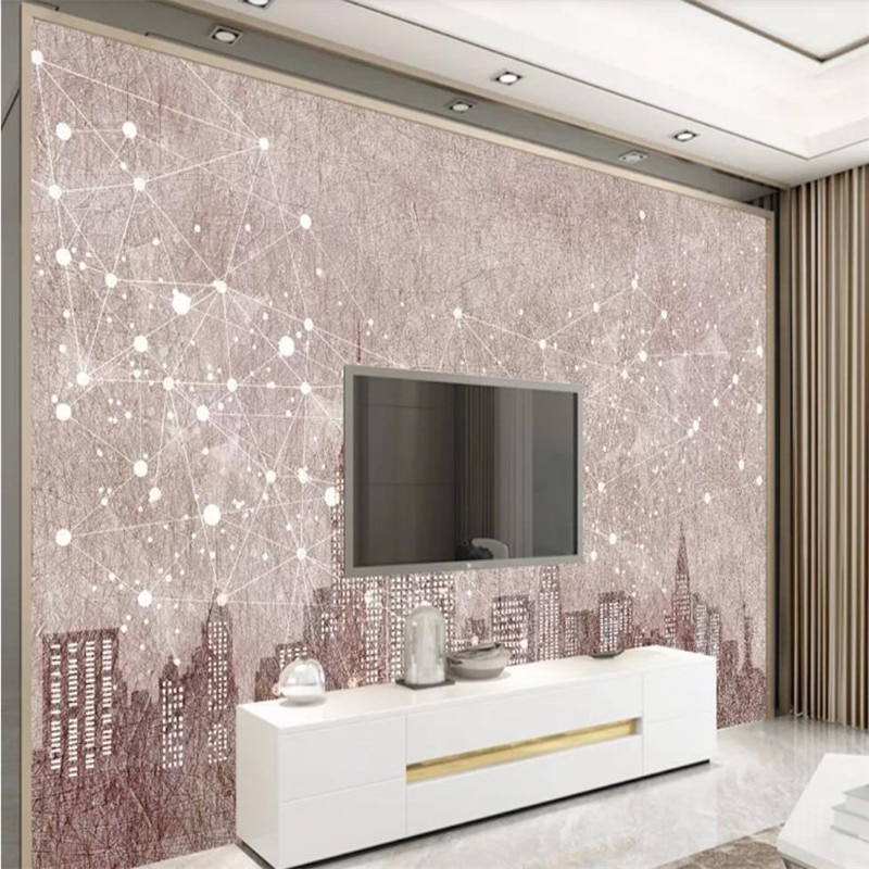 Custom 3d wallpaper city night view modern minimalist background wall high-grade waterproof material недорого