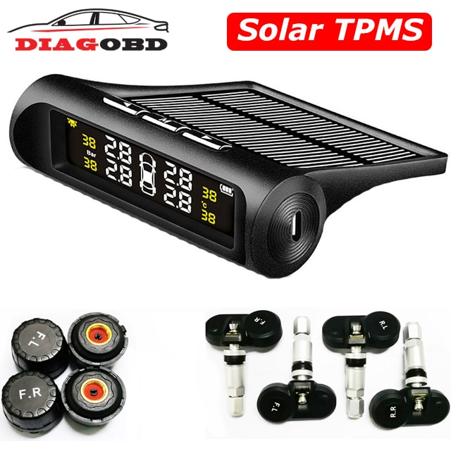 Автомобильная солнечная TPMS беспроводная система мониторинга давления в шинах ЖК