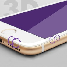 Vidrio templado en 6s iphone 6 6 6plus Pantalla Completa 3D superficie Anti-violeta fibra de carbono iphone 7 8 Plus X película de vidrio de luz púrpura
