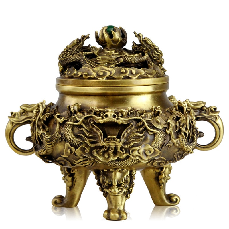 Open pure copper incense burner antique Kowloon incense burner ornaments incense Tao materials supplies room Buddhist temple dec