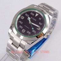 Fashion BLIGER 40mm Sapphire Glass Black Dial Luminous Hand MIYOTA 8215 Automatic Men's Watch