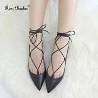roni bouker fashion lady lace up pointes shoes women handmade leather casual soft flats woman ballet flat shoe dropshipping