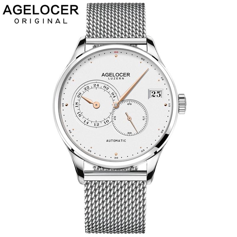 AGELOCER Swiss Men Automatic Watches Luxury Unique Hands Date Steel Sport Watch Men Relojes Mechanical Watch Relogio Masculino