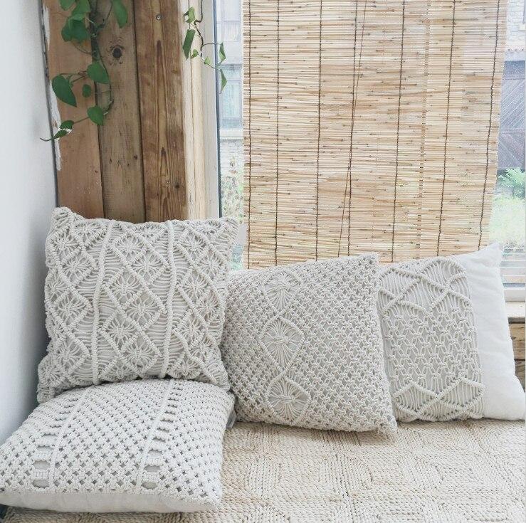 Funda de almohada de hilo de algodón tejida a mano de macramé Beige, 45x45cm, decoración geométrica Bohemia para el hogar