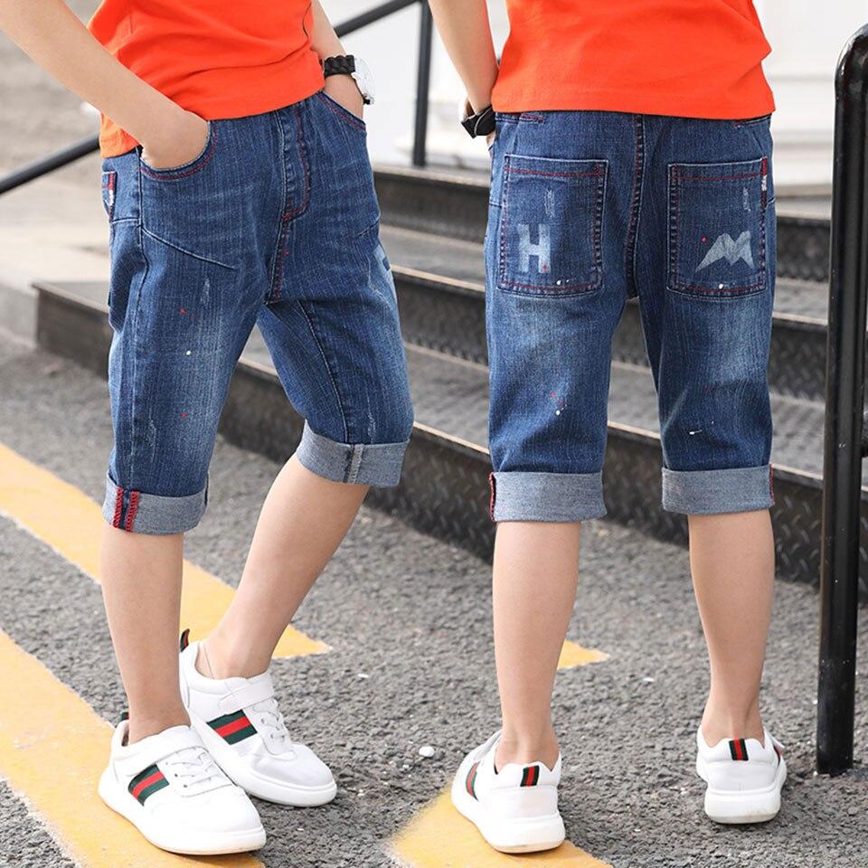 Детские джинсовые шорты для мальчика, Летние Стильные штаны для мальчиков, повседневные джинсы для маленьких мальчиков, детские модные мяг...