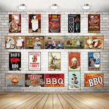 Adesivo de parede vintage para churrasco, sinais de metal para parede, restaurante, cozinha, decoração, vintage, DU-2071