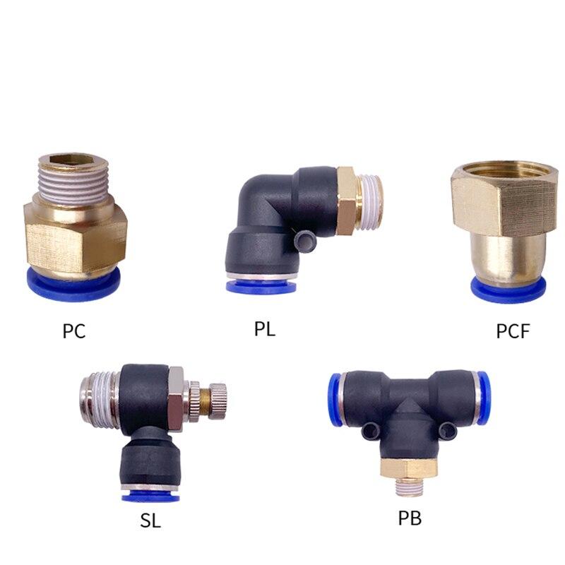 """1 pces conector rápido pneumático pcf pc pl sl pb 4mm-12mm tubo de mangueira encaixe de ar 1/4 """"1/8"""" 3/8 """"1/2"""" acoplador de tubulação de rosca macho bspt"""