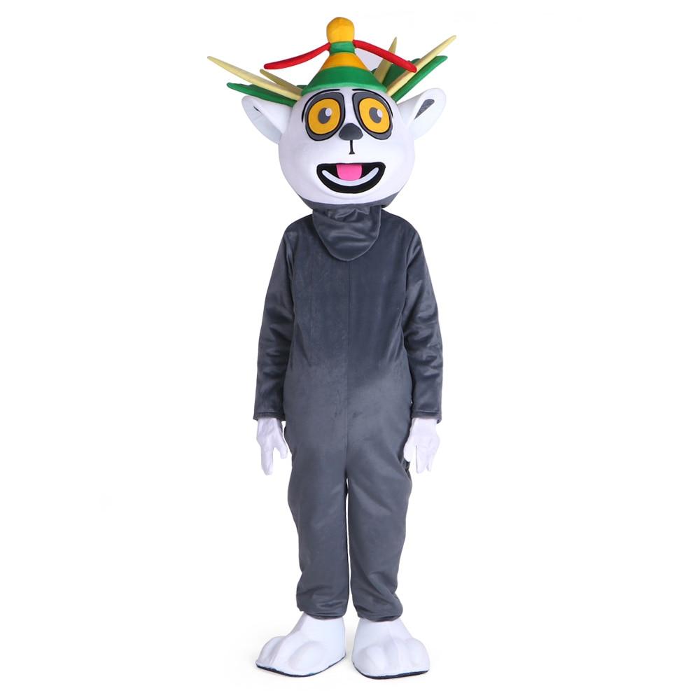 Disfraz de mascota Lemur Lemuroid Lemuridae, rey de Madagascar, personaje de dibujos animados, mascota para adulto, fiesta de Halloween